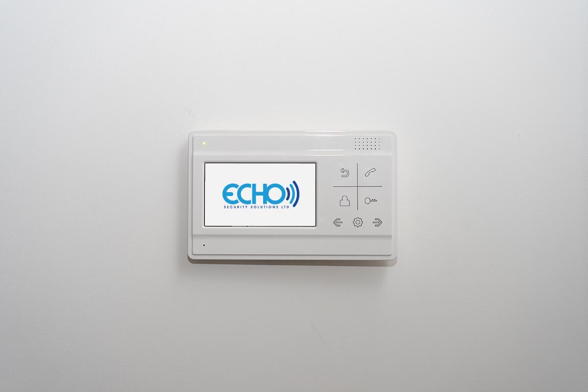 video intercom on a white wall